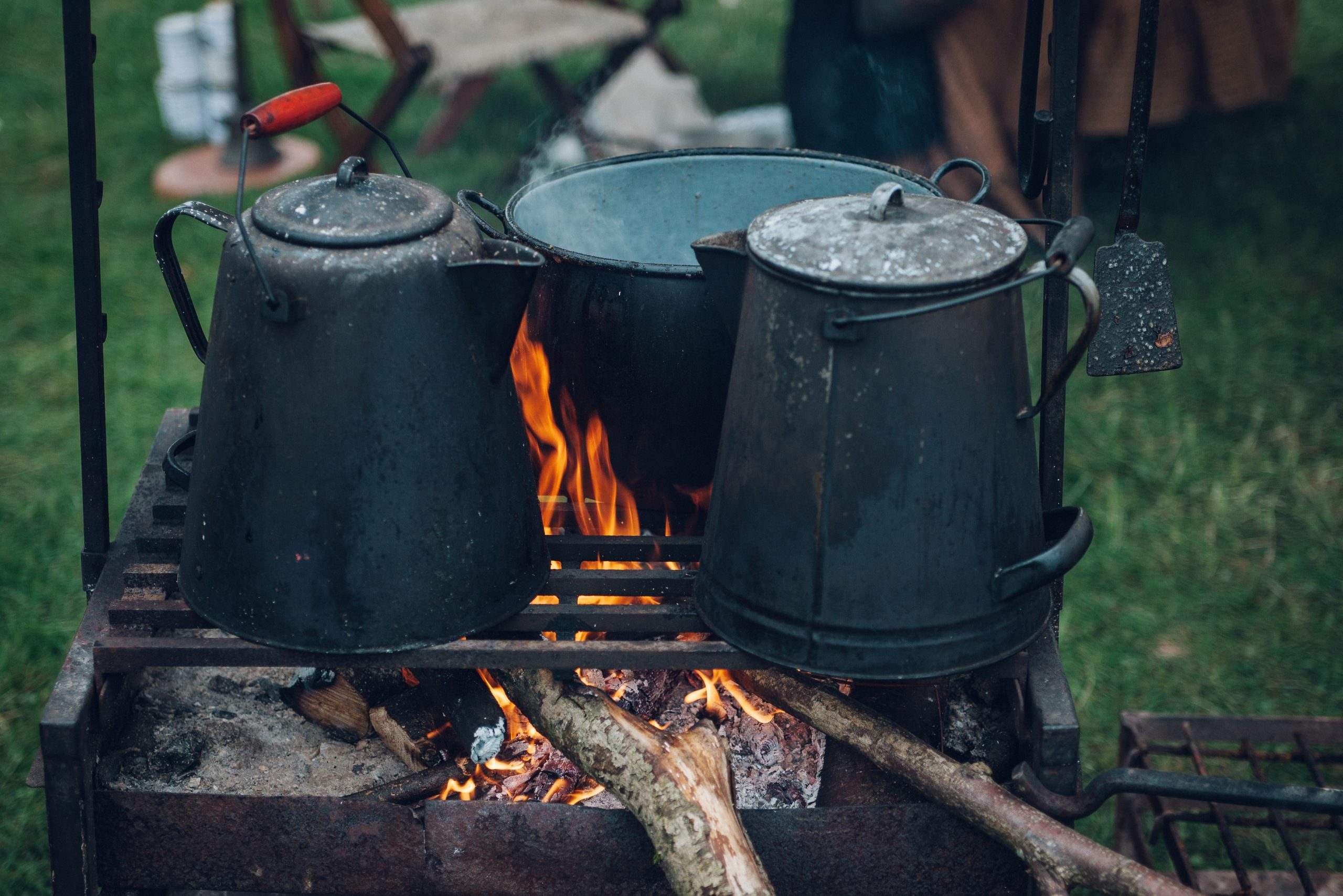 Percolators and dutch oven over the fire